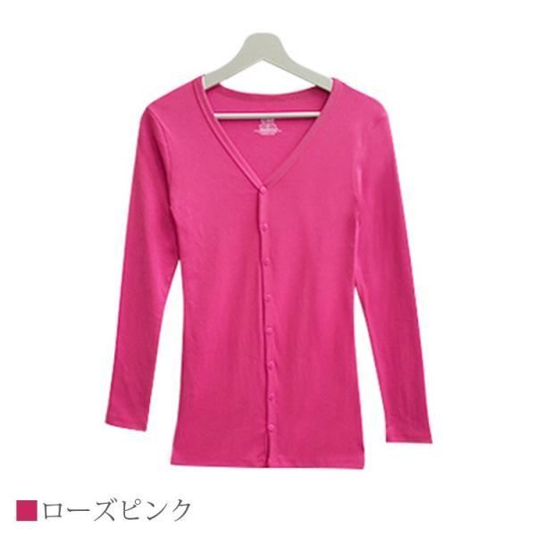 Tシャツ レディース Vネック ボタン コットン ロング 薄手 長袖 綿100% 無地 トップス シンプル UVカット JOCOSA 即納 8057 jocosa 18
