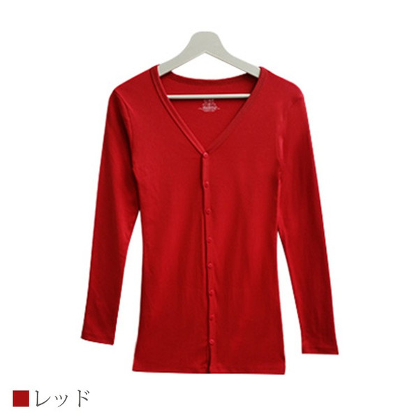 Tシャツ レディース Vネック ボタン コットン ロング 薄手 長袖 綿100% 無地 トップス シンプル UVカット JOCOSA 即納 8057 jocosa 21