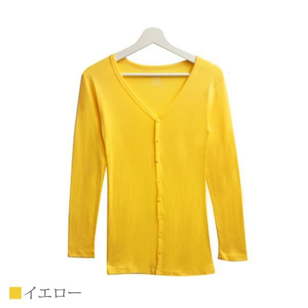 Tシャツ レディース Vネック ボタン コットン ロング 薄手 長袖 綿100% 無地 トップス シンプル UVカット JOCOSA 即納 8057 jocosa 22