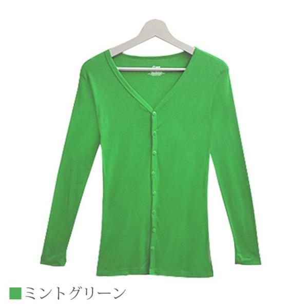 Tシャツ レディース Vネック ボタン コットン ロング 薄手 長袖 綿100% 無地 トップス シンプル UVカット JOCOSA 即納 8057 jocosa 23