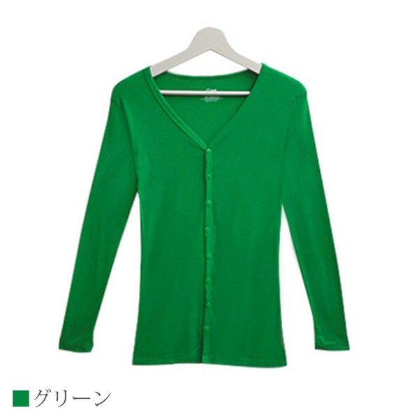 Tシャツ レディース Vネック ボタン コットン ロング 薄手 長袖 綿100% 無地 トップス シンプル UVカット JOCOSA 即納 8057 jocosa 24