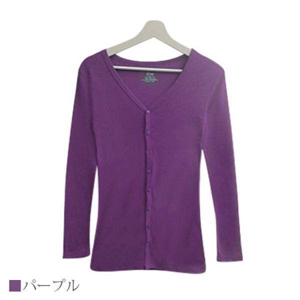 Tシャツ レディース Vネック ボタン コットン ロング 薄手 長袖 綿100% 無地 トップス シンプル UVカット JOCOSA 即納 8057 jocosa 25