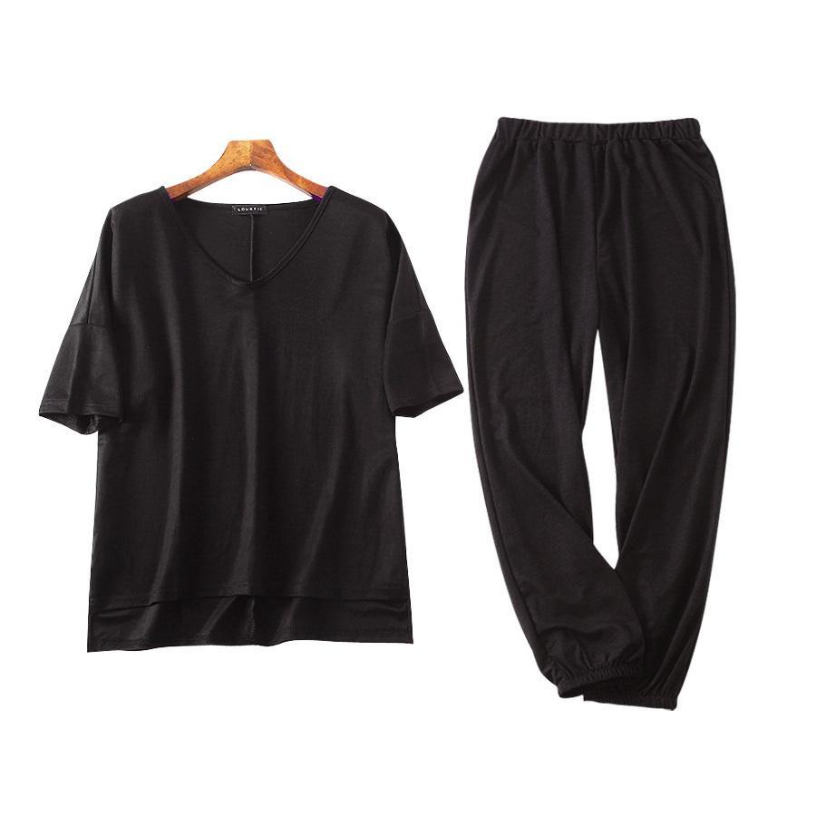 ルームウェア セットアップ パジャマ 半袖 トップス パンツ 上下セット 部屋着 Vネック スリット おしゃれ ベージュ ブラック 黒 フリーサイズ JOCOSA 8428|jocosa|22