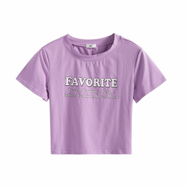 Tシャツ レディース 半袖 ロゴ へそ出し ショート丈 トップス 春 夏 秋 冬 薄手 カジュアル レッド ホワイト ラベンダー 赤 白 紫 JOCOSA 8952|jocosa|22