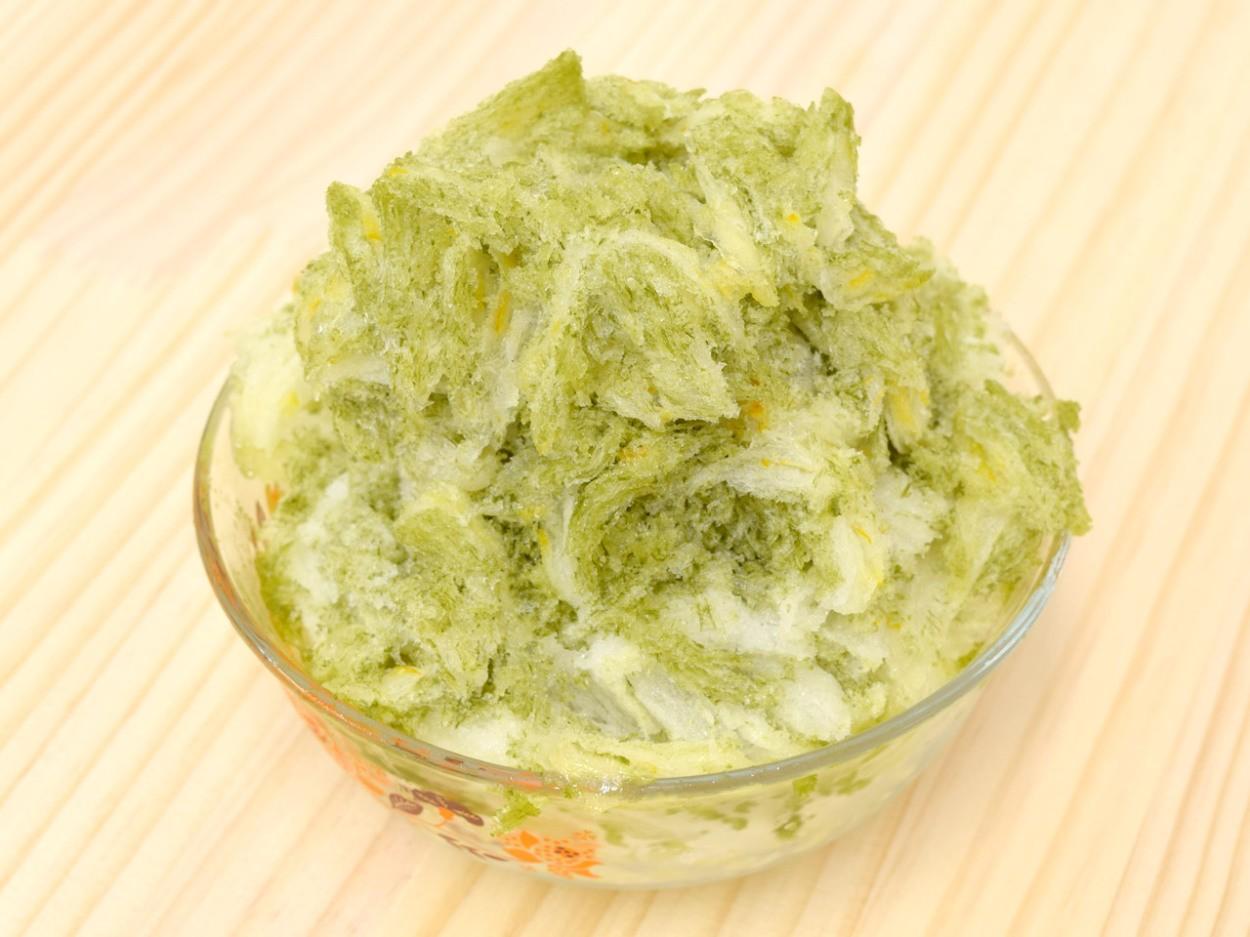 ゆず茶氷×緑茶氷のかき氷の完成