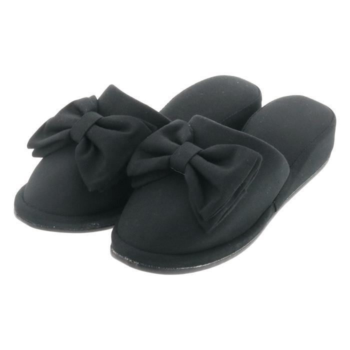 フォーマルスリッパ 4cmヒール ブラック 黒 フリル リボン(送料無料)|k-lalala|13