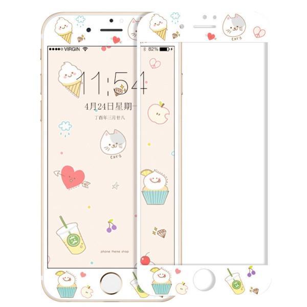 iPhone8 Plus ガラスフィルム 全面 iPhone7Plus 7 8 強化ガラスフィルム iPhone6s Plus 6 Plus 6s 6 ガラスフィルム 3D 耐衝撃 猫柄 9H かわいい 指紋防止|k-seiwa-shop|15