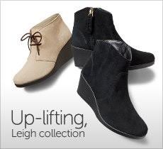 Leigh boot 女性らしいシルエットの人気スタイル。衝撃を吸収するウェッジで快適な履き心地。