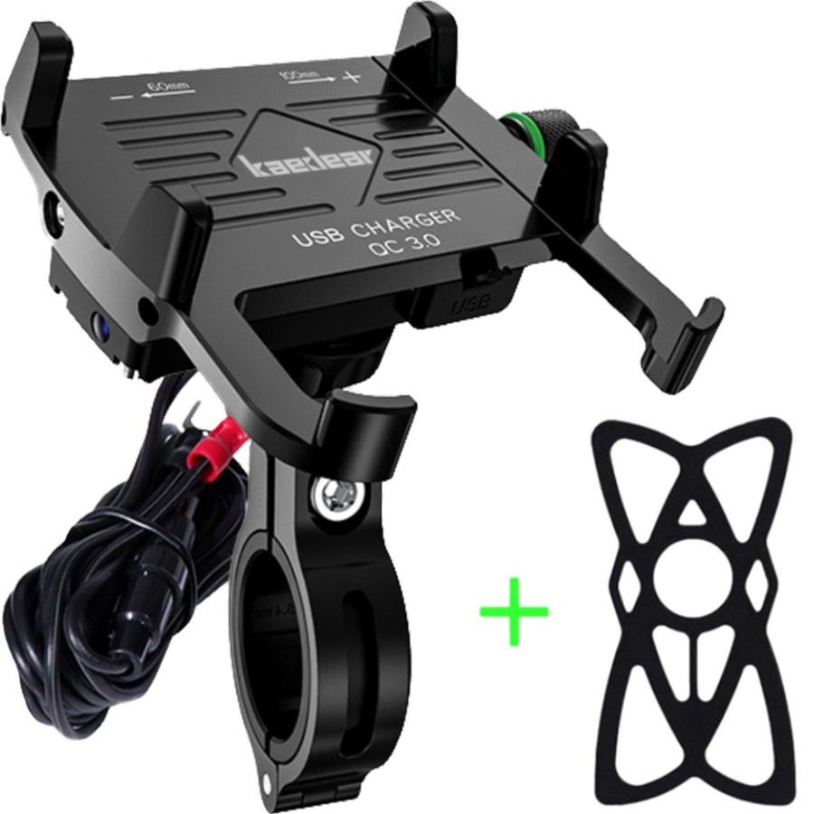 バイク スマホ ホルダー USB 充電 バイク用 電源 防水 携帯 〈 Kaedear カエディア 〉 アルミ製 ミラー 取付 マウント 原付 オートバイ 急速 QC3.0 バンド付 kaedear 10