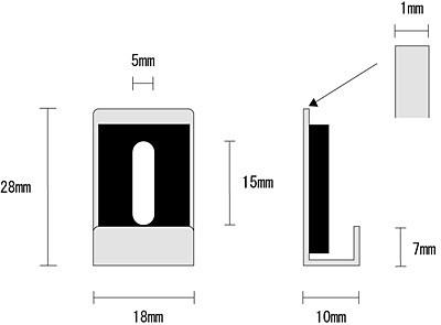 鏡・ミラー取り付け金具(ミラーハンガー)(小) 寸法図