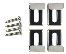 ミラーハンガー、ミラークリップ、鏡止め、鏡止め金具、鏡取り付け金具、鏡取付金具、鏡ツメ金具、化粧鏡止め金具、ステンレス二重鏡止め金具(小):Mh-S