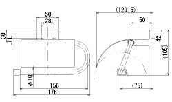 トイレ ペーパー ホルダー・トイレット ペーパー ホルダー:HR-Rr171c5-ki寸法図