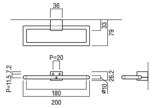 タオルハンガー・タオル掛け・タオルリング:U-AUS2025M-012n寸法図