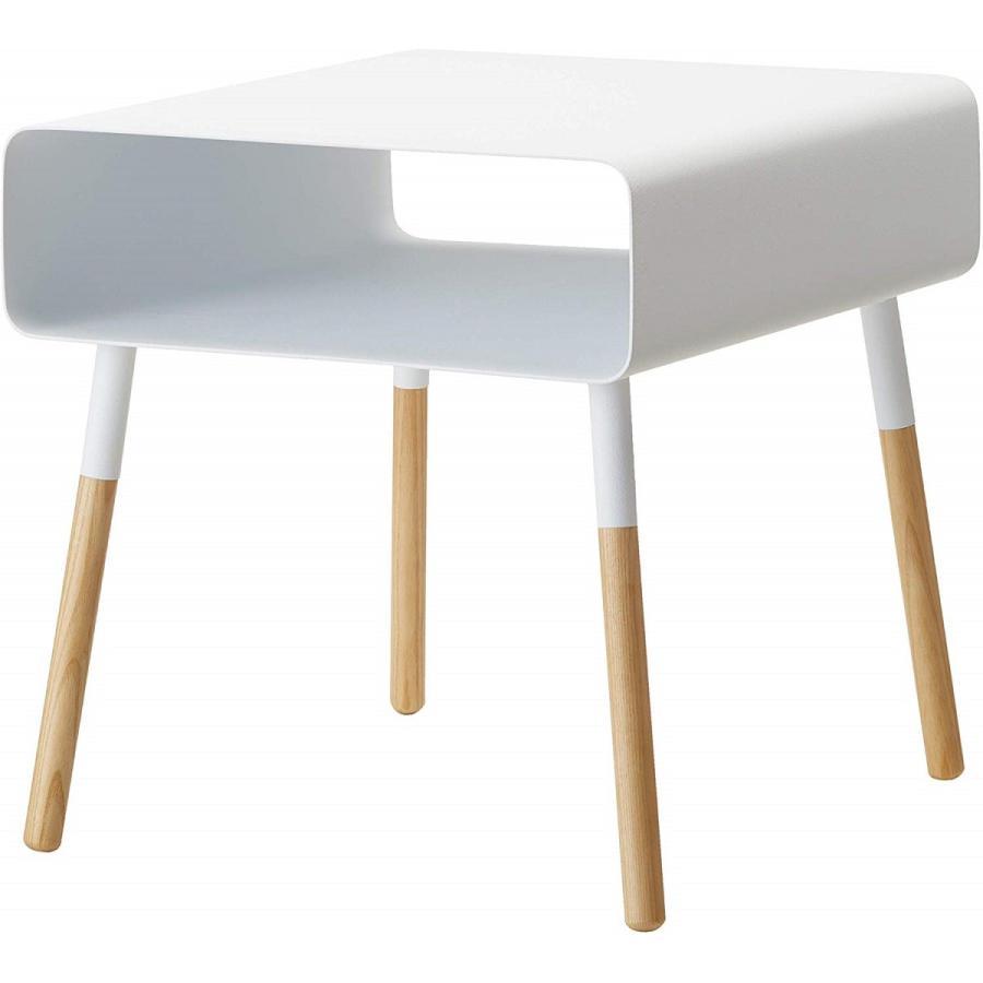 ローサイドテーブル ホワイト ブラック ソファー横 ベッド横 棚付き 天然木 スクエア|kagu-piena|17