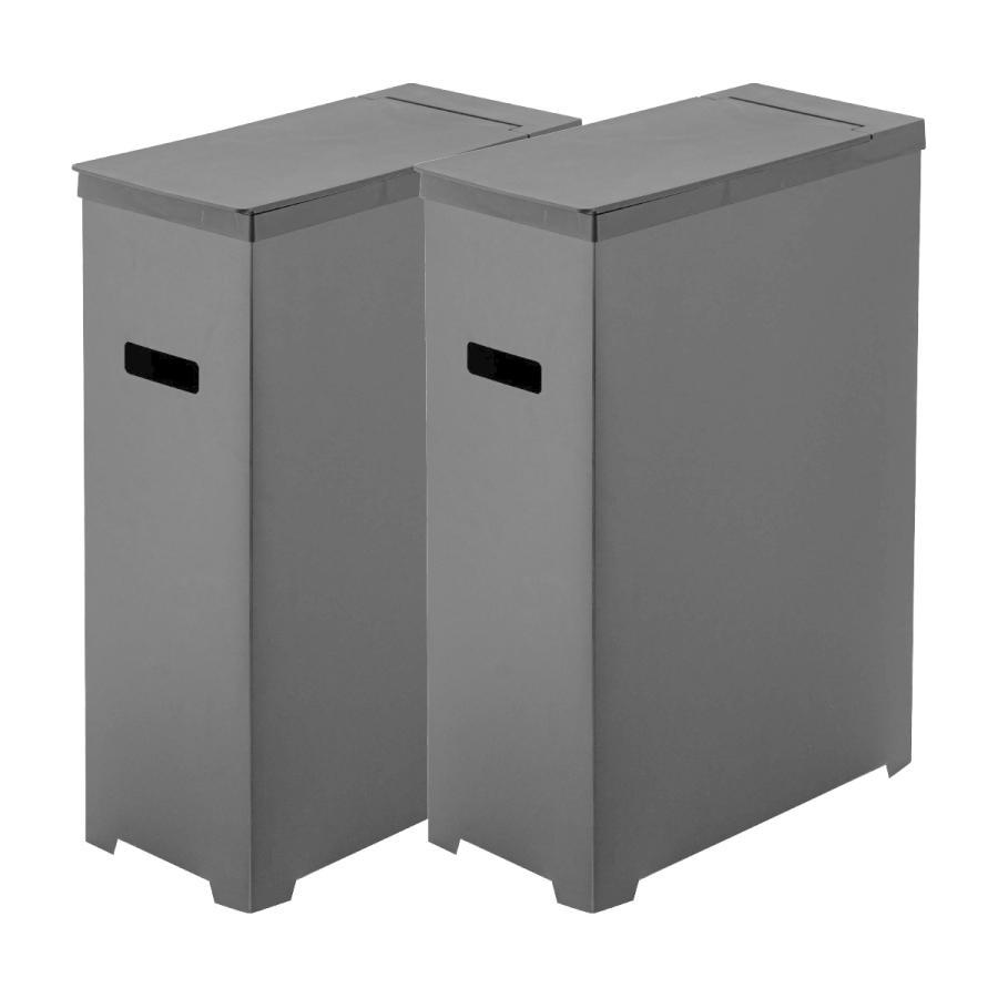 スリム蓋付きゴミ箱 2個組 ホワイト ブラック 組み立て簡単 折りたたみ 分別 山崎実業 Yamazaki|kagu-piena|13
