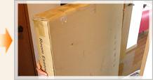 Step1:家具350から商品が届きました!/玄関口から搬入するお部屋へ、ゆっくりと運びました。