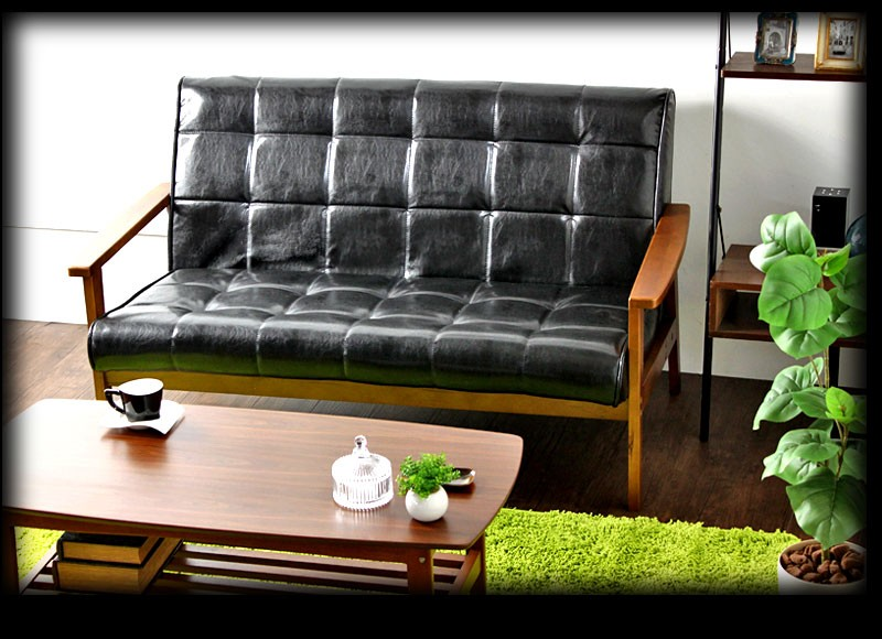 PVCレザー張りソファ レザーソファー 2.5P 幅135cm 二人掛けソファ 大きめ ブラック