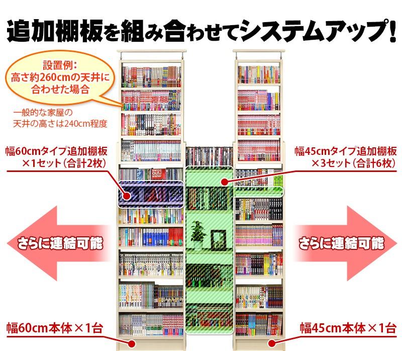 耐震 つっぱり書棚用棚板2枚組 幅45cm 奥行19cm