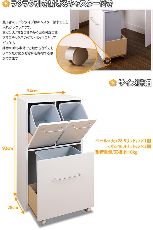 日本製完成品 ダストボックス3分別 薄型 幅54 カウンター下ダストボックス キャスター付