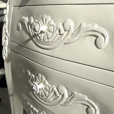コモ ホワイト チェスト 3D ヨーロピアン アンティーク風 ファックス台 電話台 インテリア収納