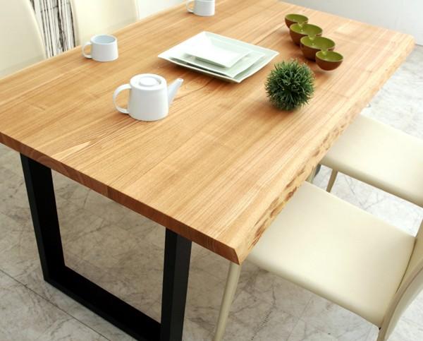 ダイニングテーブル テーブル 机 食卓 タモ無垢材 耳付き スチール脚 180