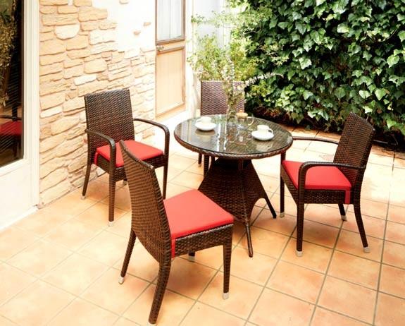 円形ラタンガーデンテーブル