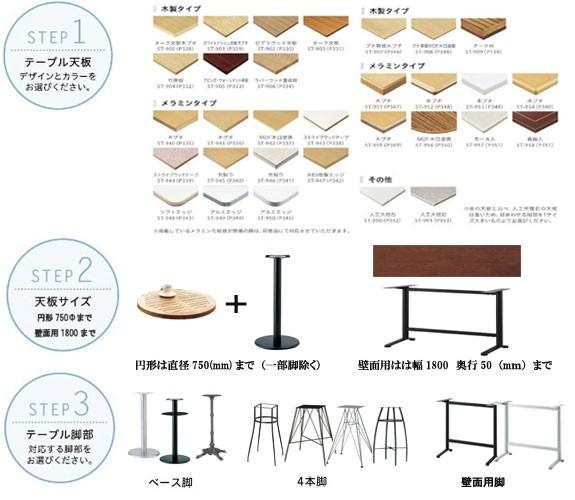テーブル用天板種類と脚タイプ