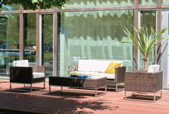 ラタン調ガーデンファニチャー ソファテーブル