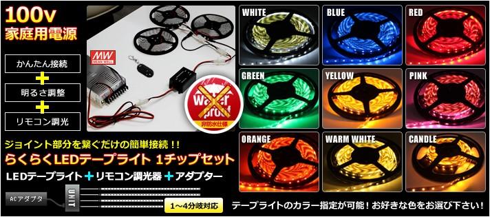 非防水らくらくLEDテープライト 1チップ(調光器+アダプターセット)