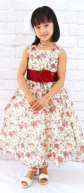 シフォンフラワープリントノースリーブドレス