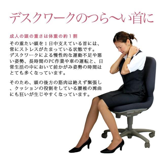 デスクワークのつら〜い首に 成人の頭の重さは体重の約1割 その重たい頭を1日中支えている首には、常にストレスがたまっている状態です。デスクワークによる慢性的な運動不足や悪い姿勢、長時間のPC作業や車の運転と、日常生活の中において前かがみ姿勢の時間はとても多くなっています。そのため、頭の後方の筋肉は絶えず緊張し、クッションの役割をしている腰椎の湾曲にも狂いが生じやすくなっています。