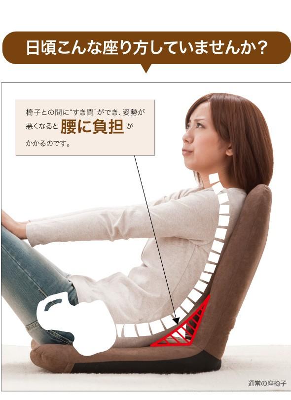 日頃こんな座り方していませんか?椅子との間にすき間ができ、姿勢が悪くなると腰に負担がかかるのです