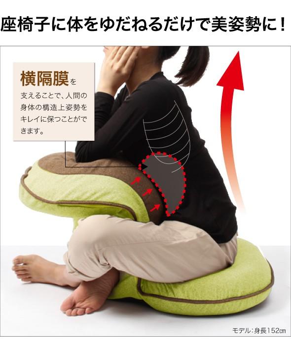 座椅子に体をゆだねるだけで美姿勢に!横隔膜を支えることで、人間の身体の構造上姿勢をキレイに保つことができます