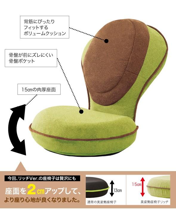 背筋にぴったりフィットするボリュームクッション。骨盤が前にズレにくい骨盤ポケット。15センチの肉厚座面。今回リッチバージョンの座椅子は贅沢にも座面を2センチアップして、より座り心地が良くなりました。通常の美姿勢座椅子、13センチ。美姿勢座椅子リッチ、15センチ