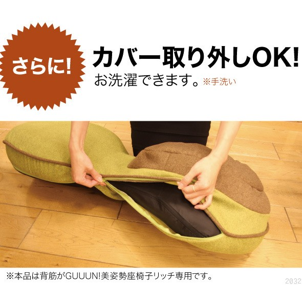 さらに、カバー取り外しOK!!お洗濯できます。ネットに入れて押し洗いしてください。本品は背筋がGUUUN!美姿勢座椅子リッチ専用です