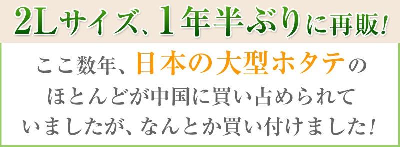 2Lサイズのホタテを1年ぶりに再販!ここ数年、日本の大型ホタテのほとんどが中国に買い占められていましたが、なんとか買い付けました!