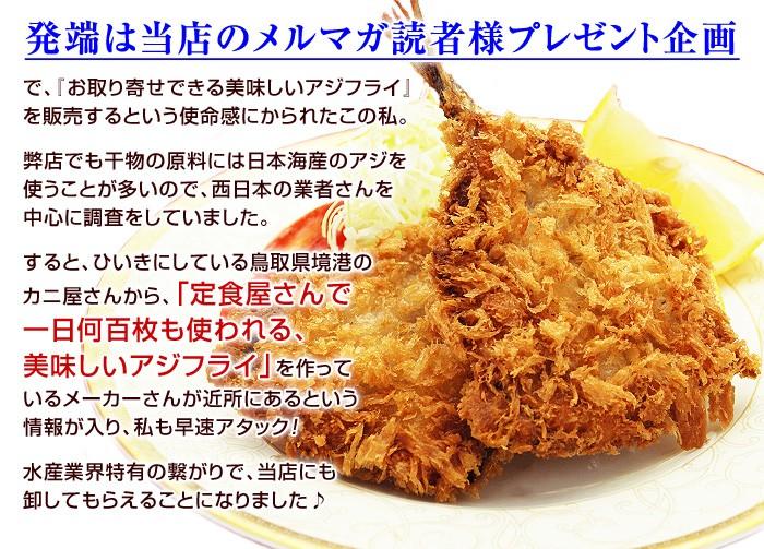 発端は当店のメルマガ読者様プレゼント企画で、『お取り寄せできる美味しいアジフライ』を販売するという使命感にかられたこの私。弊店でも干物の原料には日本海産のアジを使うことが多いので、西日本の業者さんを中心に調査をしていました。すると、ひいきにしている鳥取県境港のカニ屋さんから、「定食屋さんで一日何百枚も使われる、美味しいアジフライ」を作っているメーカーさんが近所にあるという情報が入り、私も早速アタック!水産業界特有の繋がりで、当店にも卸してもらえることになりました♪