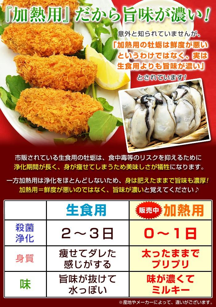意外と知られていませんが、「加熱用の牡蛎は鮮度が悪いというわけではなく、実は生食用よりも旨味が濃い」とされています!市販されている生食用の牡蛎は、食中毒等のリスクを抑えるために浄化期間が長く、身が痩せてしまうため美味しさが犠牲になります。一方加熱用は浄化をほとんどしないため、身は肥えたままで旨味も濃厚!加熱用=鮮度が悪いのではなく、旨味が濃いと覚えてください♪