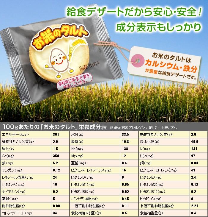 給食デザートだから安心・安全!成分表示もしっかり。お米のタルトはカルシウム・鉄分が豊富な給食デザートです。