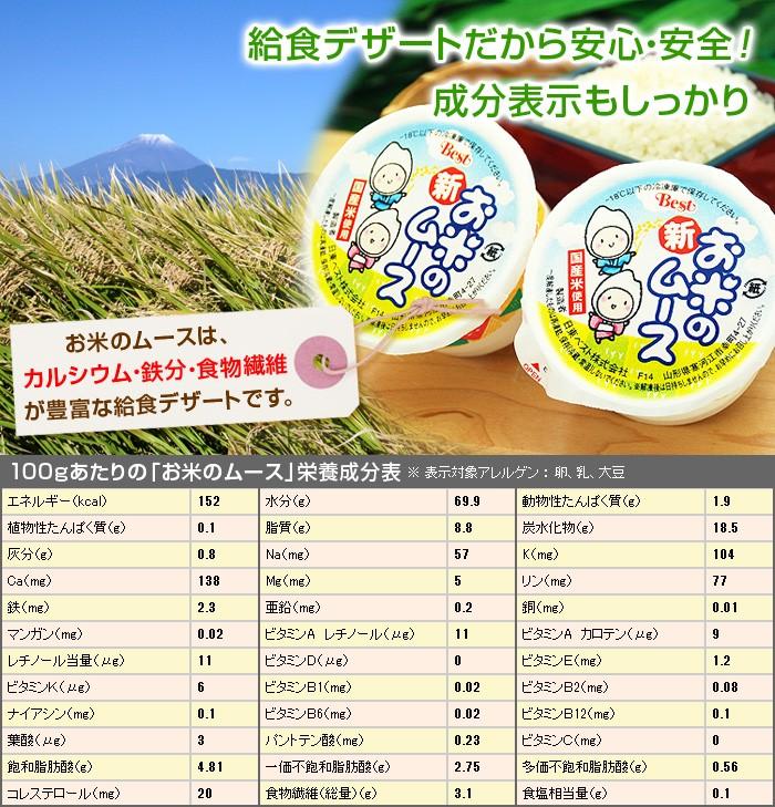 お米のムースは、カルシウム・鉄分・食物繊維が豊富な給食デザートです。