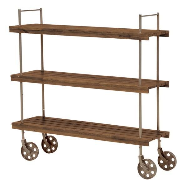 オープンラック 収納棚 ディスプレイラック スチール 天然木製 車輪キャスター付き|kanaemina|10