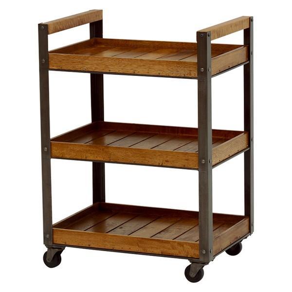 キッチンワゴン キャスター付き 木製天板 天然木 スチール おしゃれ コンパクト 3段ラック|kanaemina|07