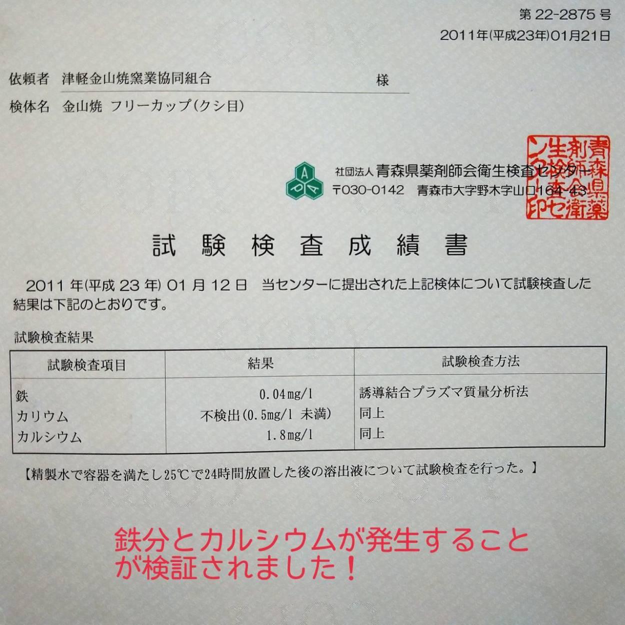 試験検査成績書