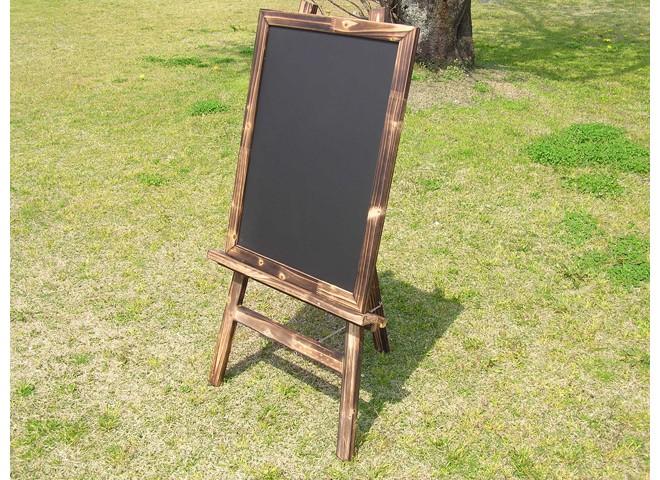 焼杉イーゼルと焼杉ボード(チョーク黒板)のセット詳細1