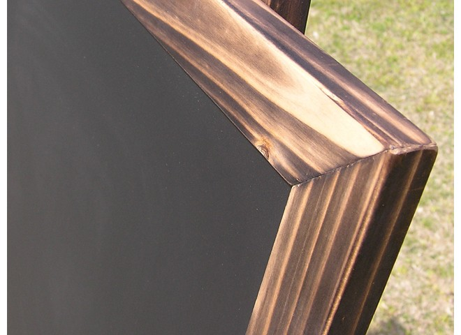 焼杉イーゼルと焼杉ボード(チョーク黒板)のセット詳細2