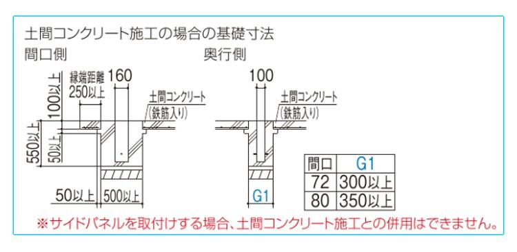 シンプルカーポート3台用寸法図3