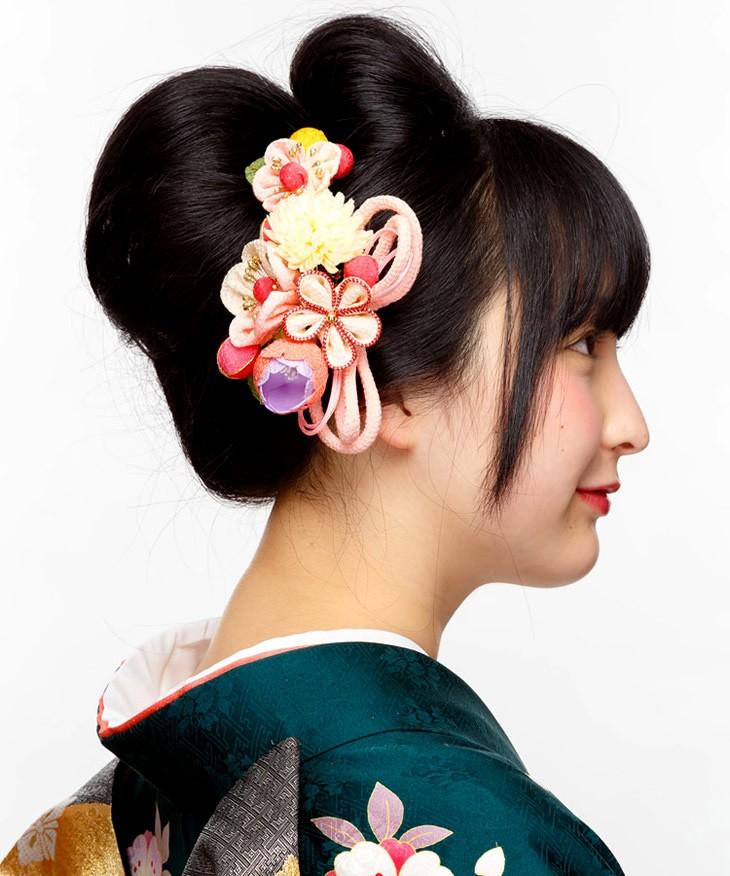 ピンク 桃色花 成人式 結婚式 卒業式 和装 振袖 祭り