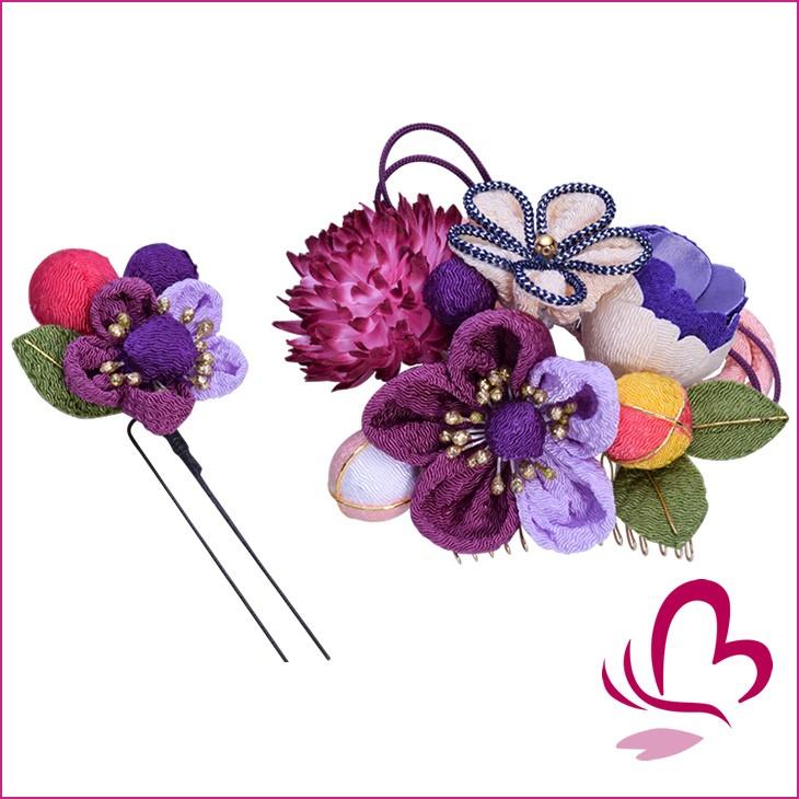 ちりめん花髪飾りセット紫はこちら