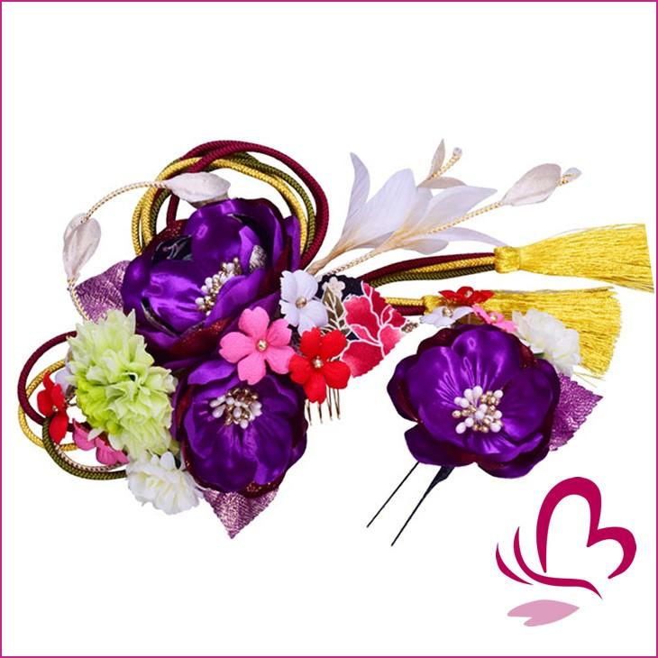 花髪飾りセット紫はこちら