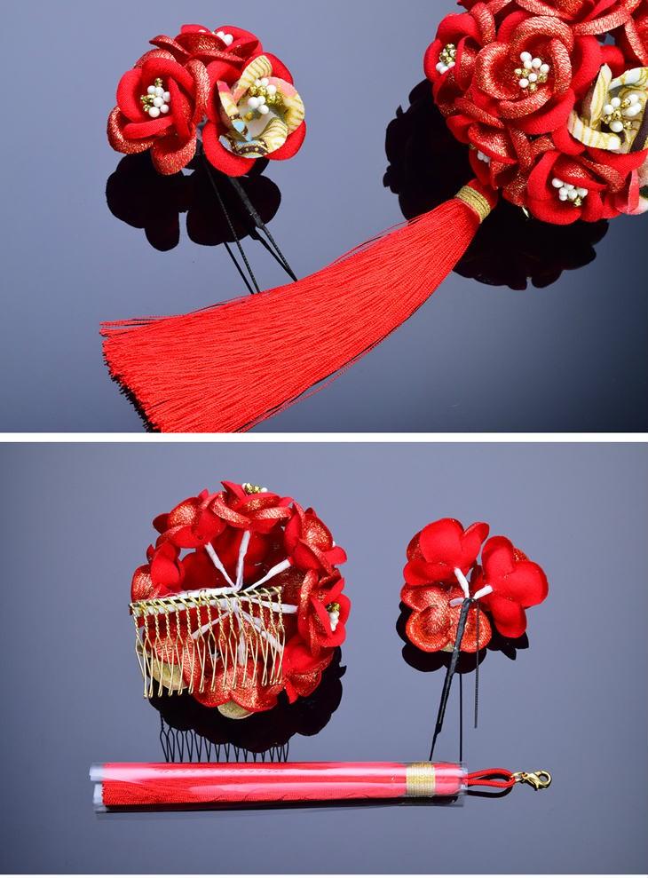 【七五三 髪飾り 2点セット】220016r 赤 レッド